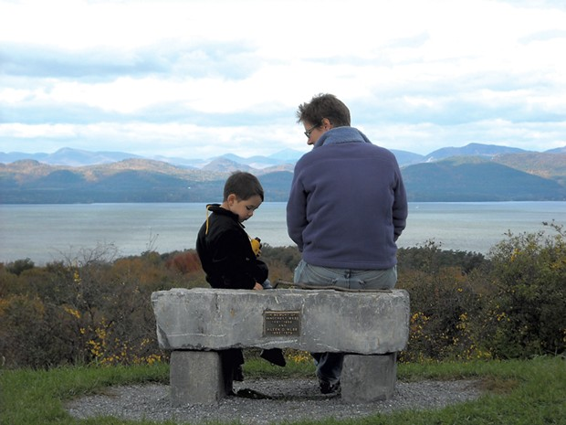 Heather and son Jesse at Shelburne Farms' Lone Tree Hill in 2011 - COURTESY OF BEN WANG