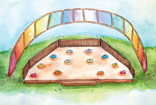 A new outdoor classroom, illustrated by 11th grade student Wren Van Deusen - COURTESY OF LAKE CHAMPLAIN WALDORF SCHOOL