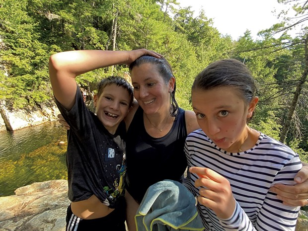 Alison and her kids at the Falls of Lana - JEFF NOVAK