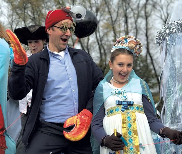 Alison's family celebrating at the Rotary of Charlotte-Shelburne-Hinesburg Halloween Parade in 2018 - ALISON NOVAK