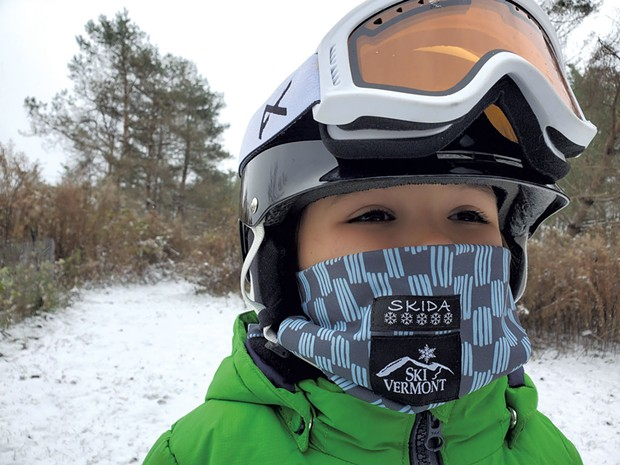 5-year-old Ronin White of Jericho masks up for a day of skiing - ADAM WHITE