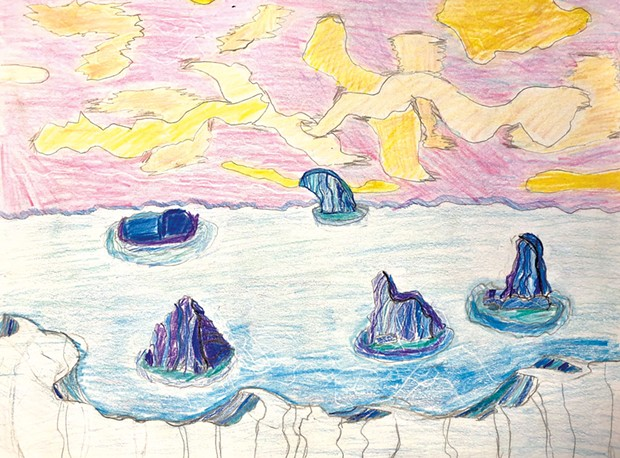 Icy Seascape by Thomas, 11, inspired by Lawren Harris