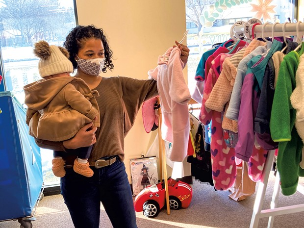 Maria and her daughter shopping at Boho Baby in Williston - MARIA MUNROE