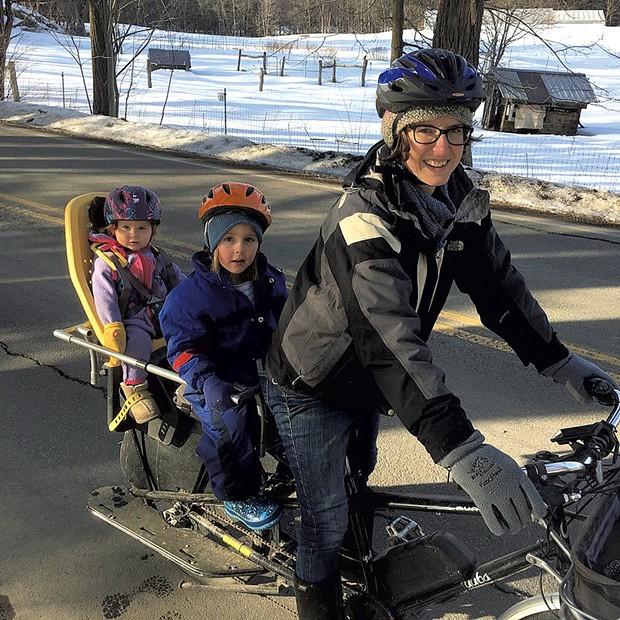 Caitlin Burlett, Selah and Anaïs biking to school - COURTESY OF CAITLIN BURLETT