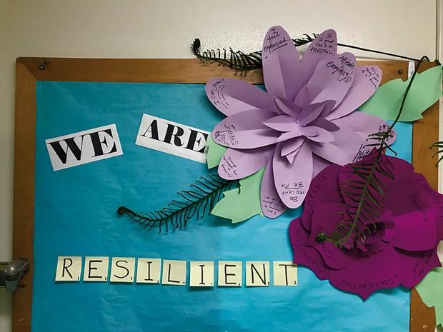 A collaborative art display at Lyman C. Hunt Middle School - COURTESY OF SANDY HAWKES