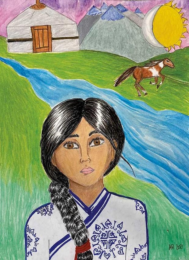 """Mongolian Beauty,"" by Albina R. age 13"