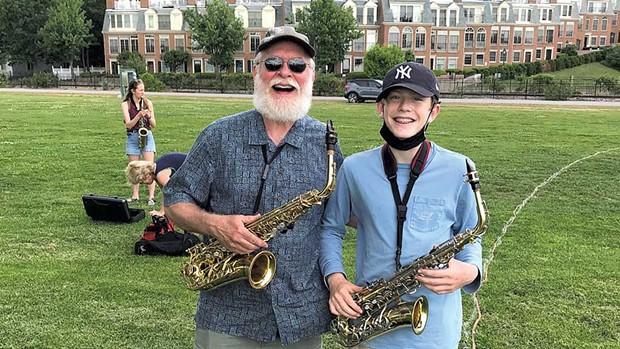 Craig Olzenak reunited with student Felix during the Burlington Discover Jazz Fest - COURTESY OF BENJAMIN ROESCH