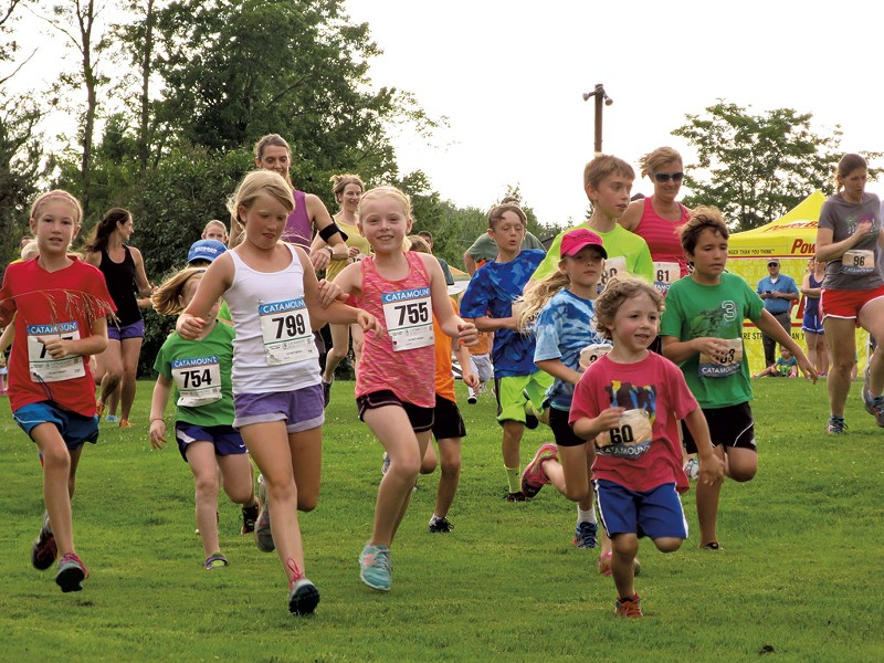 Kids take off at the start of Catamount's Tuesday Night Trail Running Series - MATTHEW THORSEN