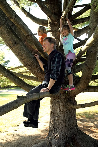 Erik Kaarla with his 7-year old twins - MATTHEW THORSEN