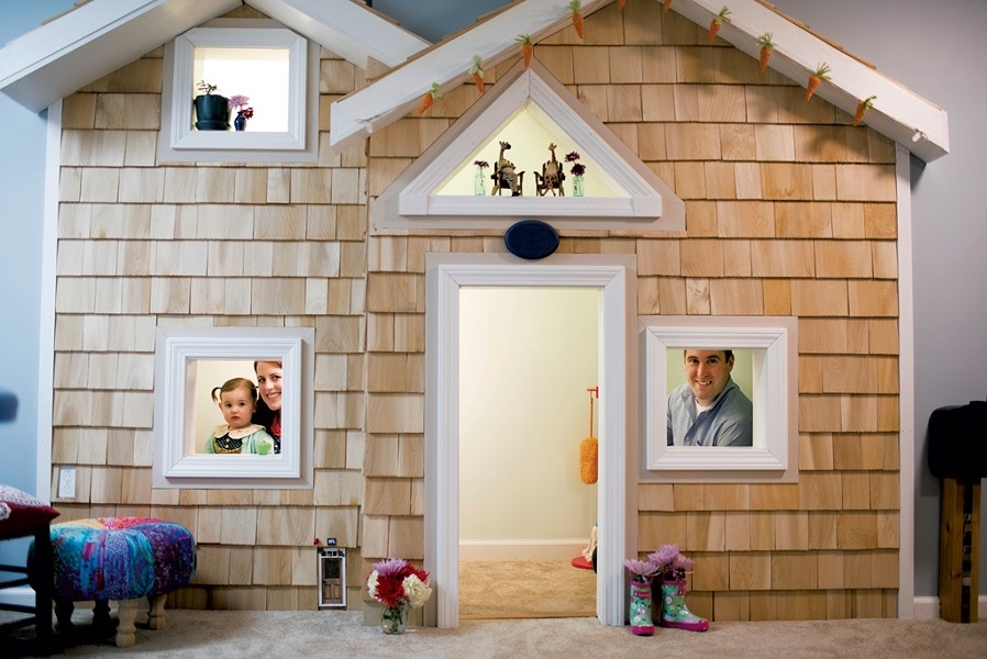 Meghan, Hatley and Josh inside the basement playhouse - CALEB KENNA