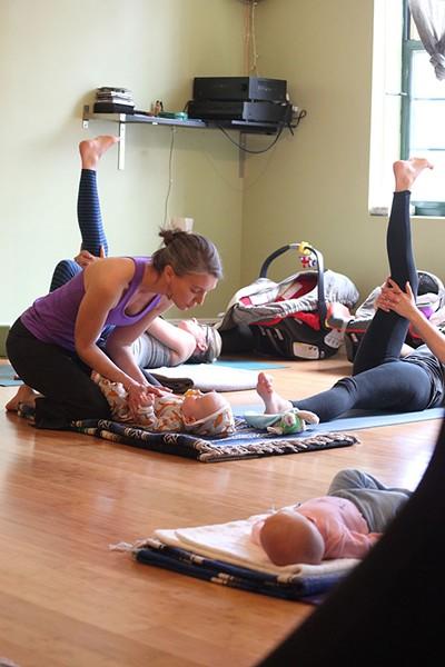 Cline Lucey teaches postnatal yoga - MATTHEW THORSEN