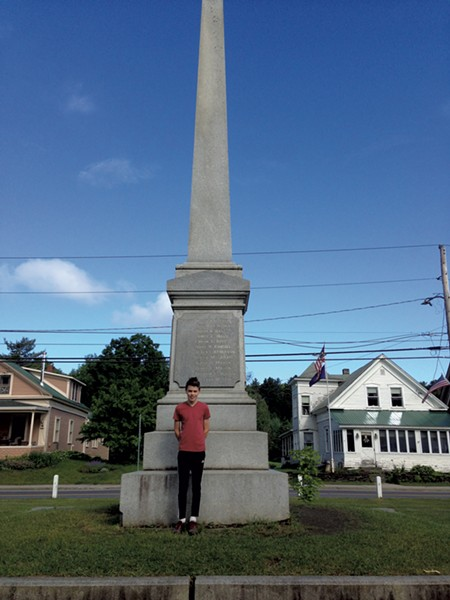 Alan Moody in front of the monument for Civil War soldiers in Cabot (Activity 11)