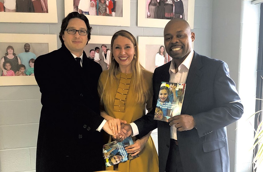 BSD Superintendent Yaw Obeng (right) with French Consul General Arnaud Mentré and K-12 Education Officer Edit Dibra