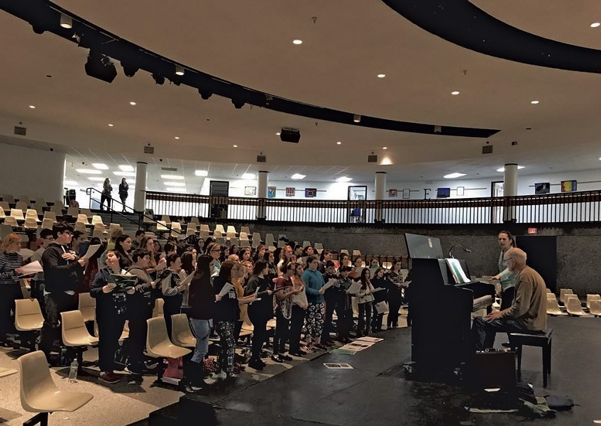 Jessie Pierpont directs middle school chorus students earlier this year