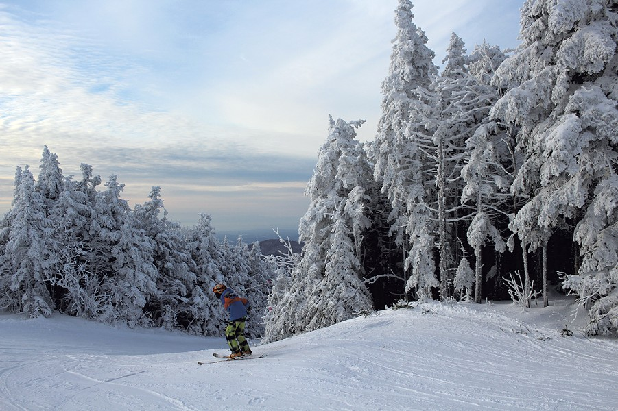 Heather's son Jesse skiing in a montane spruce-fir forest at Bolton Valley - HEATHER FITZGERALD