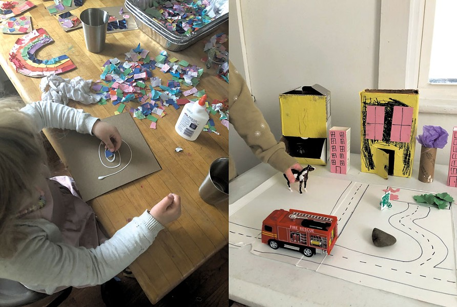 Left: Collage is an easy and adaptable activity; Right: Build a tabletop city with recycled material - MEREDITH BAY-TYACK