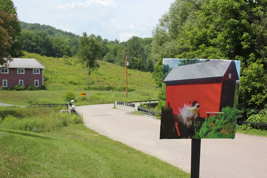 In East Corinth, a sign marks the site of Beetlejuice's covered bridge scene - JAKE HANLEY