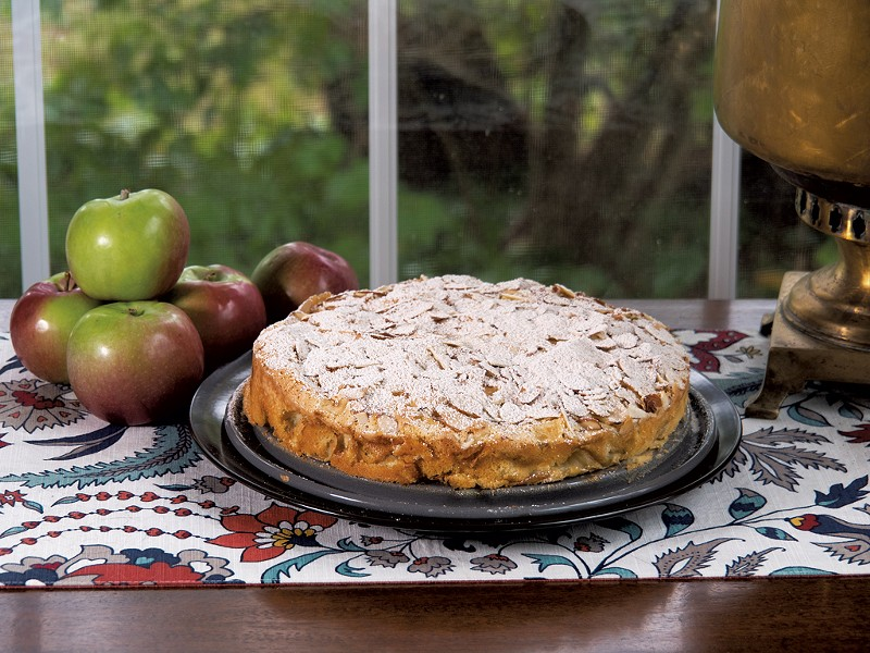 Sliced almonds give this cake a nice crunch - ANDY BRUMBAUGH<