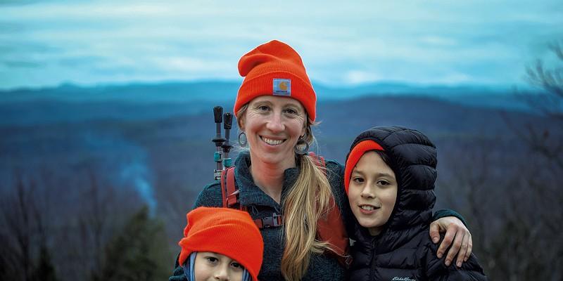Allison Korn of Brattleboro with her children