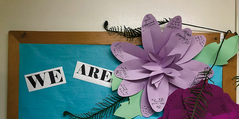 A collaborative art display at Lyman C. Hunt Middle School