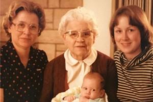 Baby Alison with her mom, grandma and great-grandma