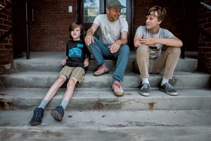 James Kochalka, 50, Vermont's first cartoonist laureate and author of the Johnny Boo series of graphic novels, with sons Oliver, 10, and Eli, 15