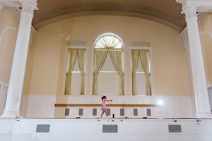 Lily Hicks dances in Ira Allen Chapel