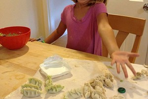 Mira makes dumplings in 2013