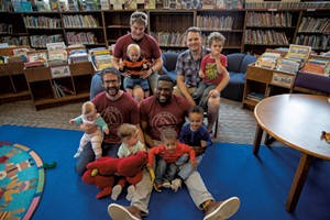 Members of Dad Guild with their kids at a monthly playgroup at the Fletcher Free Library in Burlington