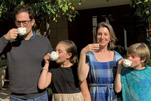 The Novak family enjoys tea together in Phoenix, AZ in March 2019