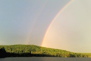 A rainbow over Caspian Lake