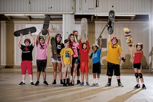 Hannah Deene Wood and David Wood with skateboarders (from left to right) Kyle Buck, Jasper Cleary, Juni Cleary, Henry Meunier, Arthur Lea, Creston Lea-Simons, Liam Kelley and Evelyn Santillo at Talent's new Burlington location