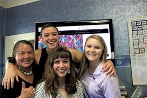 From left: Ever Widening Circles CEO Lynda Ulrich, Ever Widening Circles for Education CEO Liesl Ulrich-Verderber, head writer Samantha Burns and former intern Abi Fugere