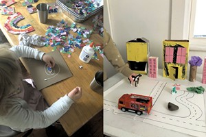 Left: Collage is an easy and adaptable activity; Right: Build a tabletop city with recycled material