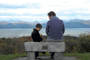 Heather and son Jesse at Shelburne Farms' Lone Tree Hill in 2011