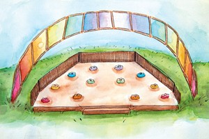 A new outdoor classroom, illustrated by 11th grade student Wren Van Deusen