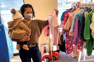Maria and her daughter shopping at Boho Baby in Williston