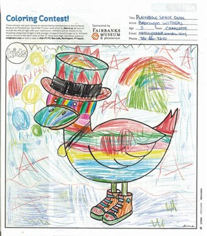 """Rainbow Space Duck"" by Bronwyn Withers, age 5, South Burlington"