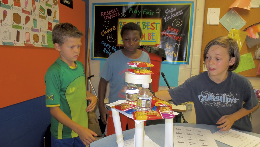 Hardwick students with their weight-bearing tower - COURTESY OF BRETT STANCIU