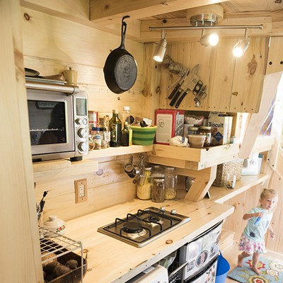 Living small a family of three makes a tiny house their for Large family small house