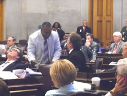 '2-Shay' asks Rep. Steve McManus to sign on to his tongue-in-cheek naming resolution. - JB