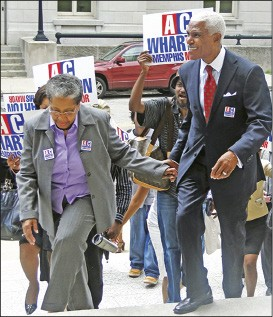 A C Wharton and wife Ruby arrive at the Election Commission - JACKSON BAKER
