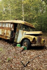 A Caravan bus, a reminder of the Farm's origins in 1971. - JUSTIN FOX BURKS