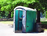 A conservancy model for Overton Park could fund real bathrooms to replace this Porta-Potty, as well as new playground equipment and general park upkeep.