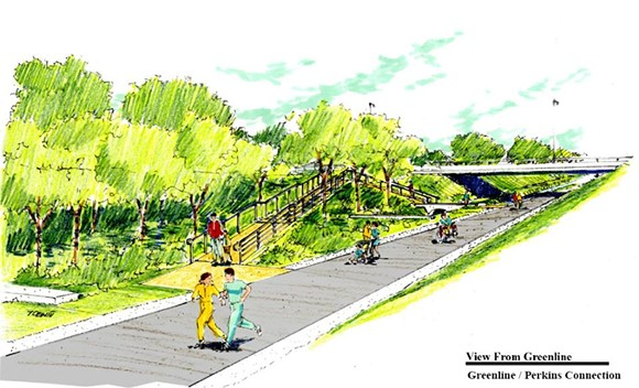 A drawing of the proposed Perkins Project connector to the Shelby Farms Greenline.