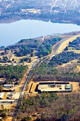 AERIAL PHOTOS COURTESY OF SAVE GREER'S FERRY LAKE INC. - A drilling pad sits south of Greer's Ferry Lake in Heber Springs; Maurice Lipsey.