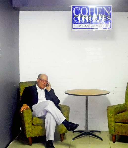 A newly victorious Congressman Steve Cohen takes one of many congratulatory phone calls he received Thursday night. - JB