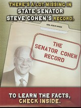 A page from the new Emily's List mailout attacking Steve Cohen and boosting opponent Nikki Tinker.