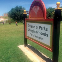 A place holder sign at the former Jefferson Davis Park