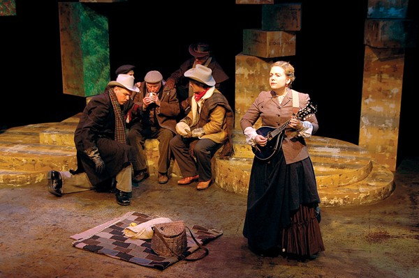 A scene from a western version of Shakespeare's As You Like It at Theatre Memphis, through March 2nd.